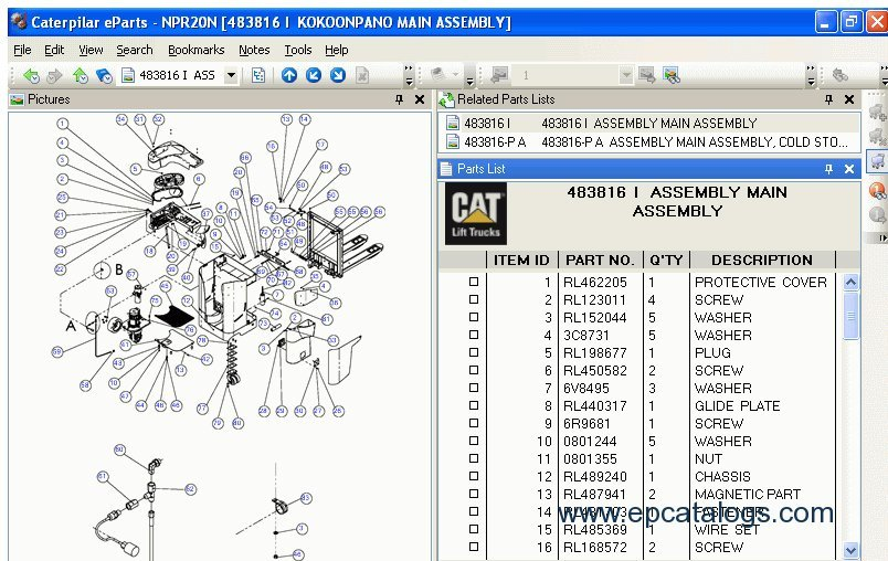 Caterpillar Forklift Linkone Spare Parts Catalog Download