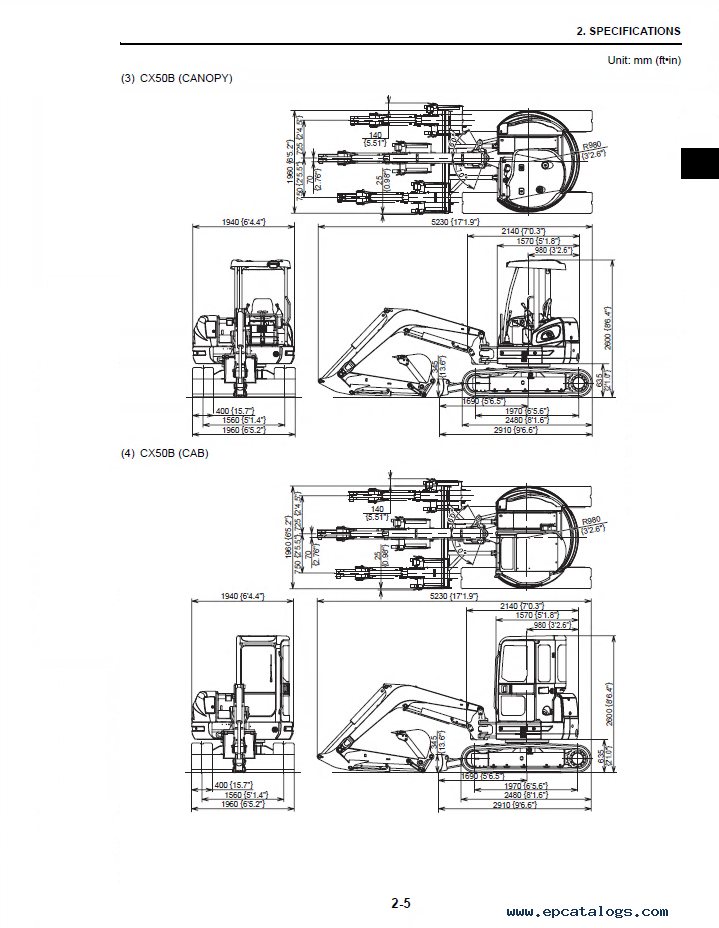 case cx40b cx50b hydraulic excavator shop manual pdf