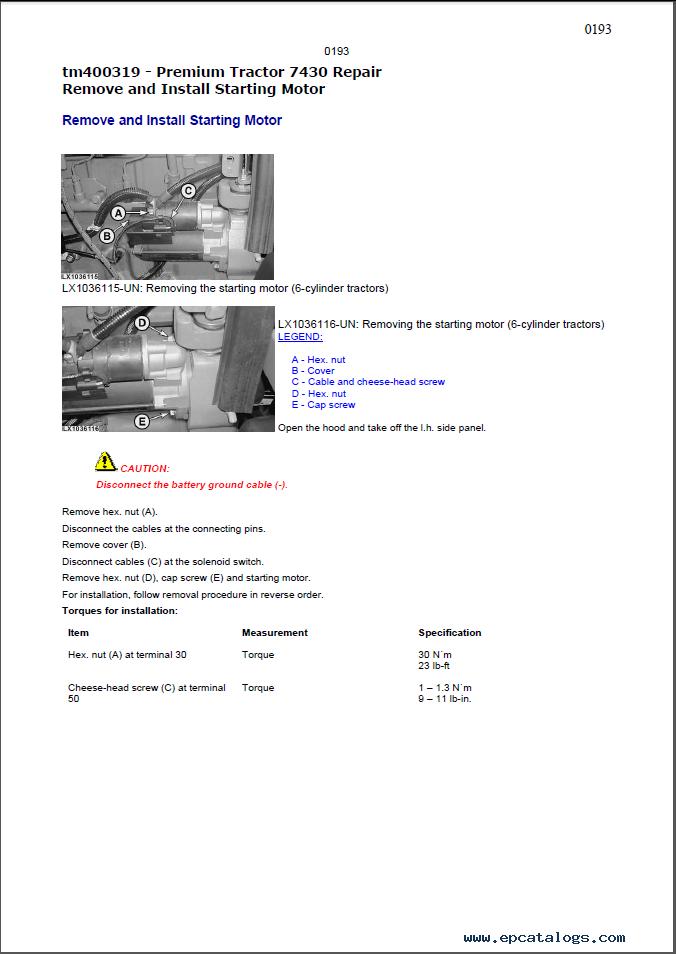 John Deere 7430 Tractor Technical Manual Pdf