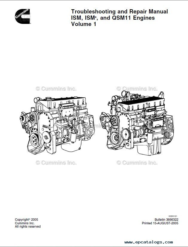 cummins ism  u0026 isme  u0026 qsm11 engines troubleshooting pdf