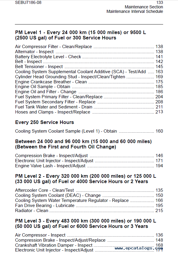caterpillar 3406E, C-10, C-12, C-15, C-16 On-Highway Engines Maintenance  Intervals Manual PDF