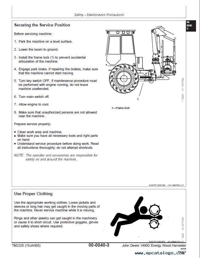 John Deere Energy Wood Harvester 1490D TM2328 Technical Manual PDF