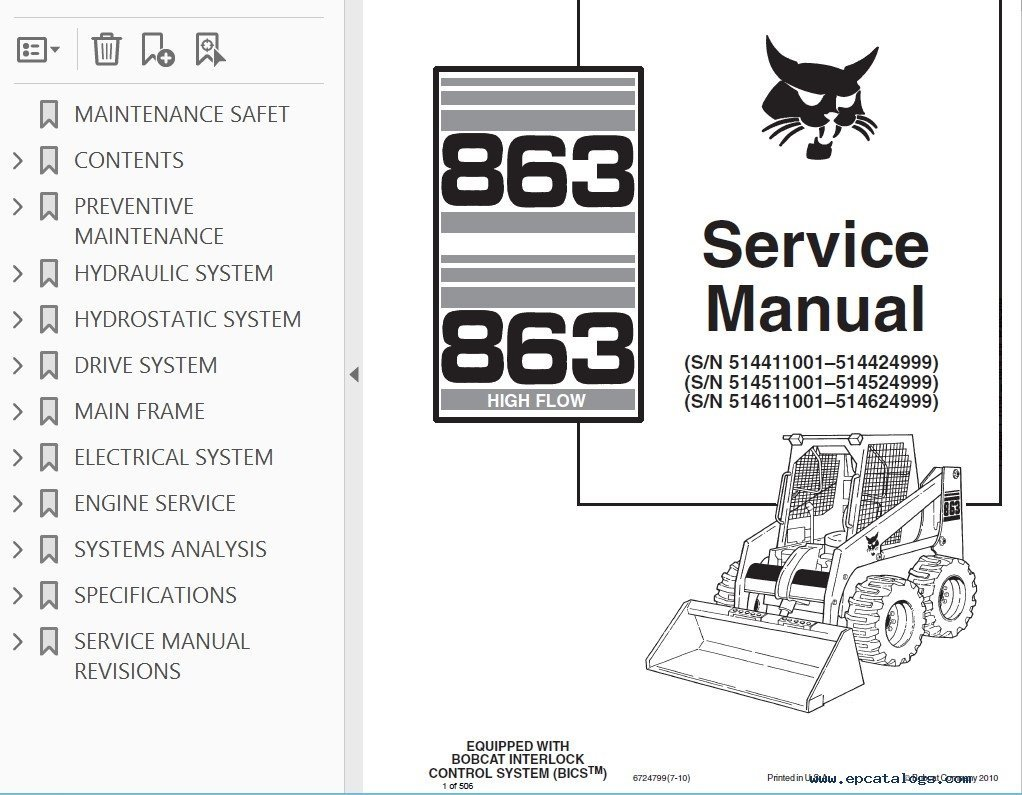 repair manual Bobcat 863, 863 High Flow Skid Steer Loaders Service Manual  PDF - 2