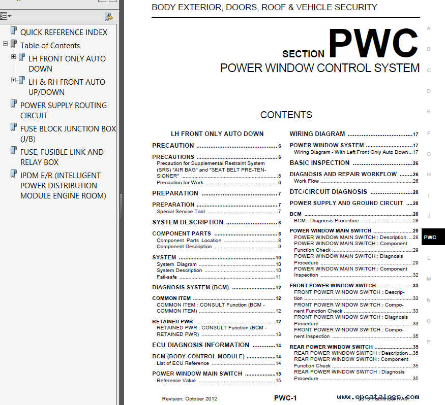 Nissan Pathfinder Model R52 Series 2013 Service Manual PDF