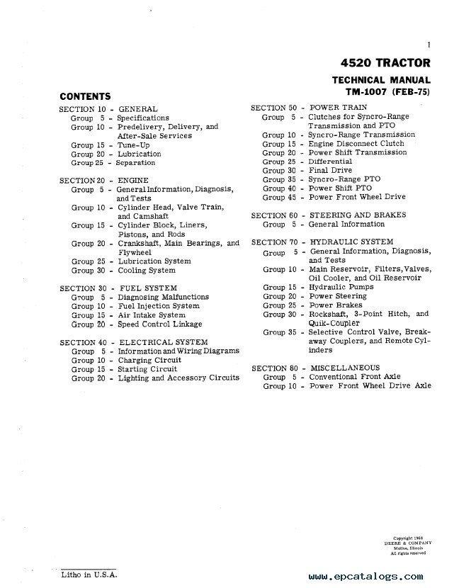 [DIAGRAM_0HG]  John Deere 4520 Tractors TM1007 Technical Manual PDF | John Deere 4520 Wiring Diagram |  | EPCATALOGS