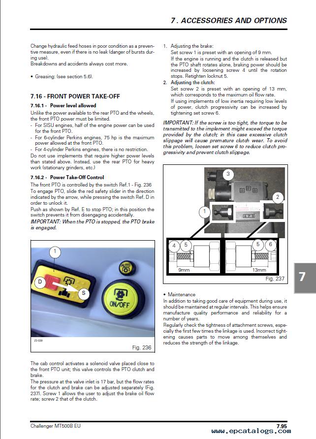 Challenger MT525B-535B-545B-555B-565B-575B Series Agricultural Tractor  Operator Instruction Book PDF