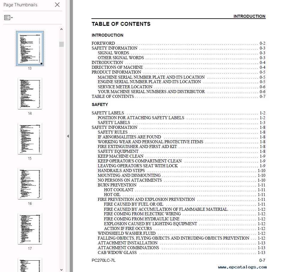 Komatsu Hydraulic Excavator Galeo PC270-7 PDF Set of Manuals