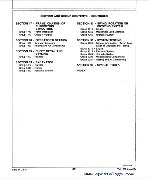 John Deere 990 Excavator Tm1230 Technical Manual Pdf