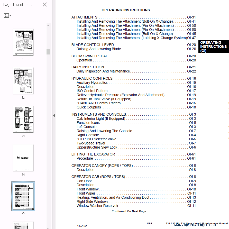repair manual Bobcat 331, 331E, 334 Excavator Operation & Maintenance Manual  PDF - 2