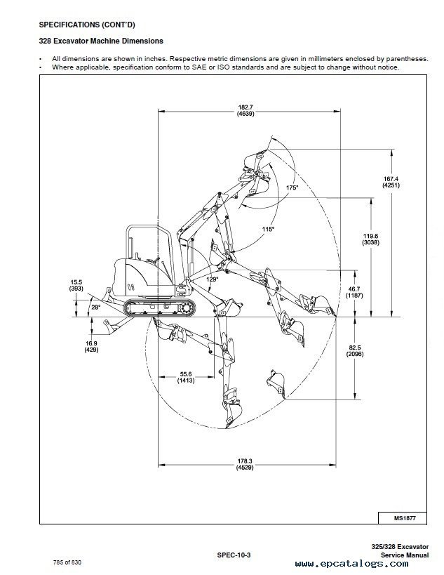 Bobcat G G Excavator Parts Catalog Spare Parts Manuals