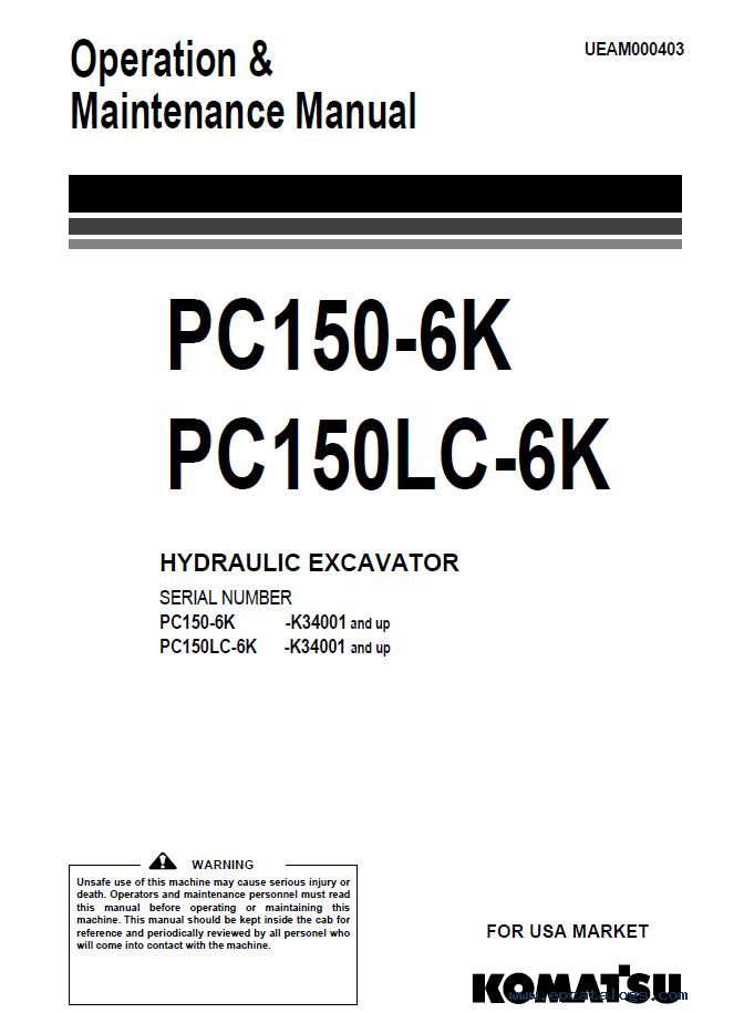 Komatsu pc 150 Parts manual
