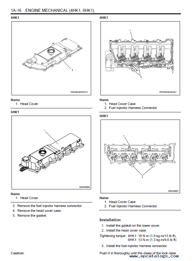 repair manual new holland isuzu engine 4hk1 & 6hk1 pdf service manual - 2