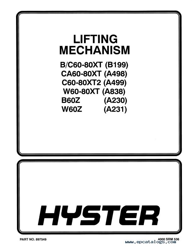 Hyster Repair manual W40xt on