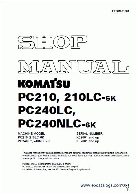 download komatsu pc240 pc240lc pc240nlc 6k excavator service shop manual