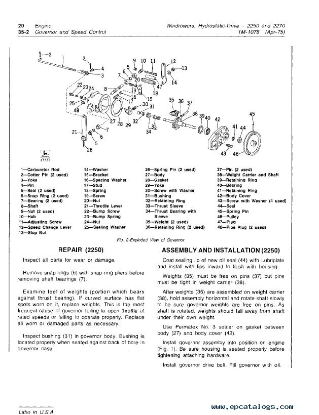 John Deere 2250 2270 Hydrostatic Windrowers Tm1078 Pdf