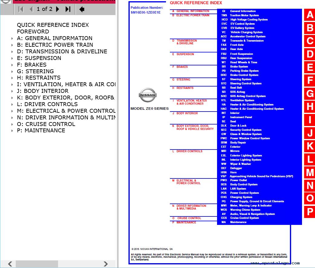 repair manual Nissan Leaf Model ZE0 Series 2013-2016MY Electronic Service  Manuals - 3