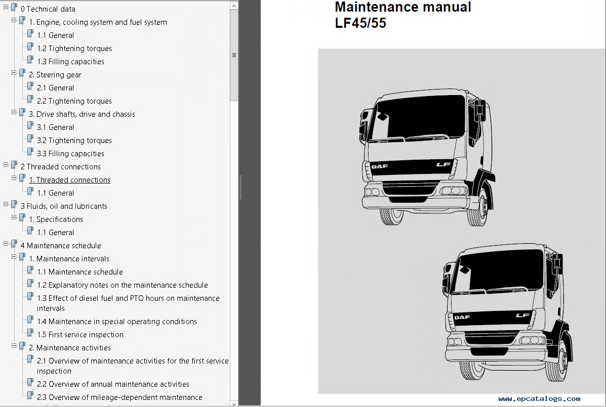 daf trucks series 95xf cf65 cf75 cf85 lf45 lf55 pdf rh epcatalogs com  Diesel Engine Troubleshooting Fuel System Diesel Engine Repair Advertising