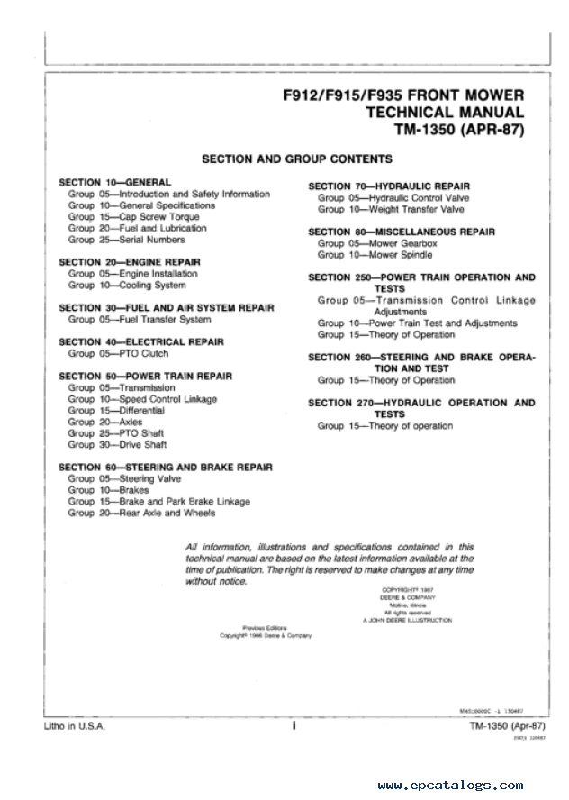 john deere f912 f915 f935 front mowers technical manual rh epcatalogs com John Deere LT133 Owner's Manual John Deere Parts Catalog