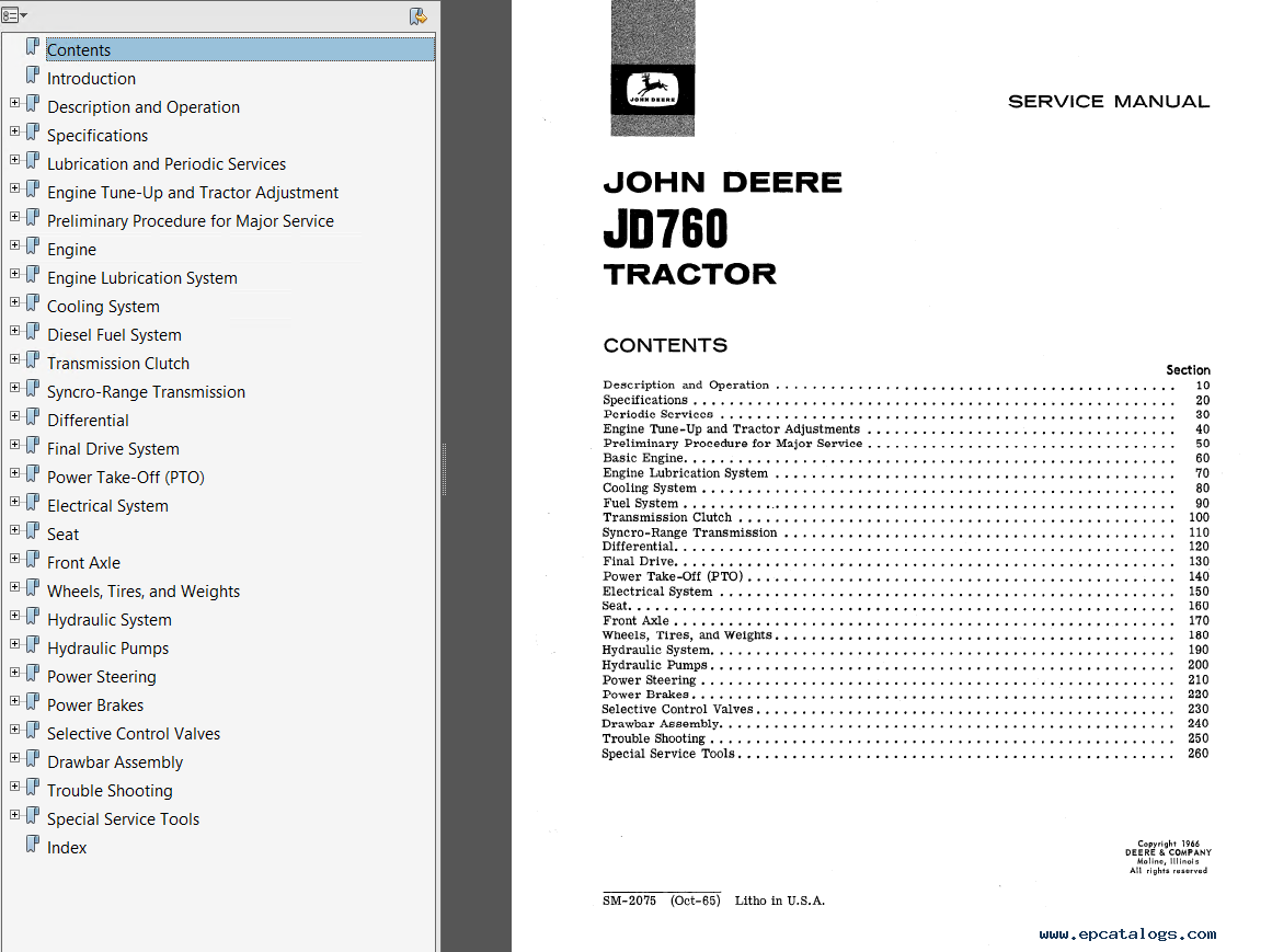 John Deere Tractor Service Manuals : John deere jd tractor service manual sm pdf