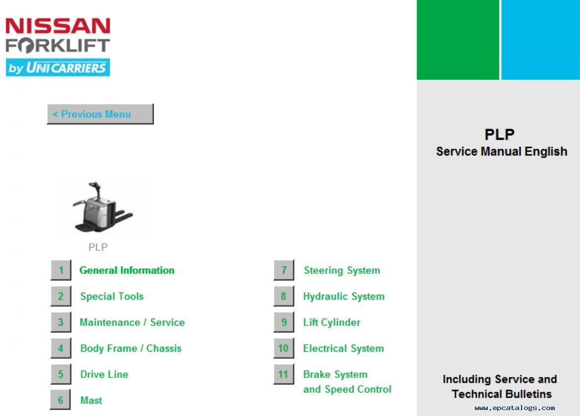 nissan electric forklift service manuals