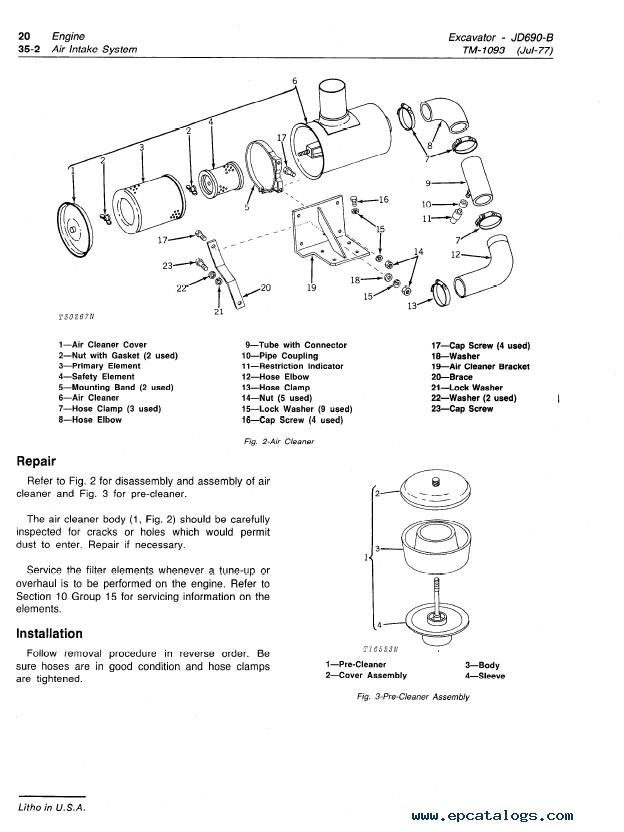 John Deere 690b Excavator Tm1093 Technical Manual Pdf