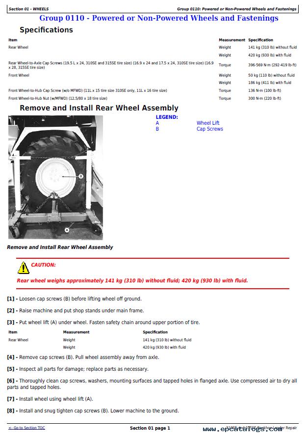 John Deere 310SE and 315SE Backhoe Loader Repair Manual PDF TM1609
