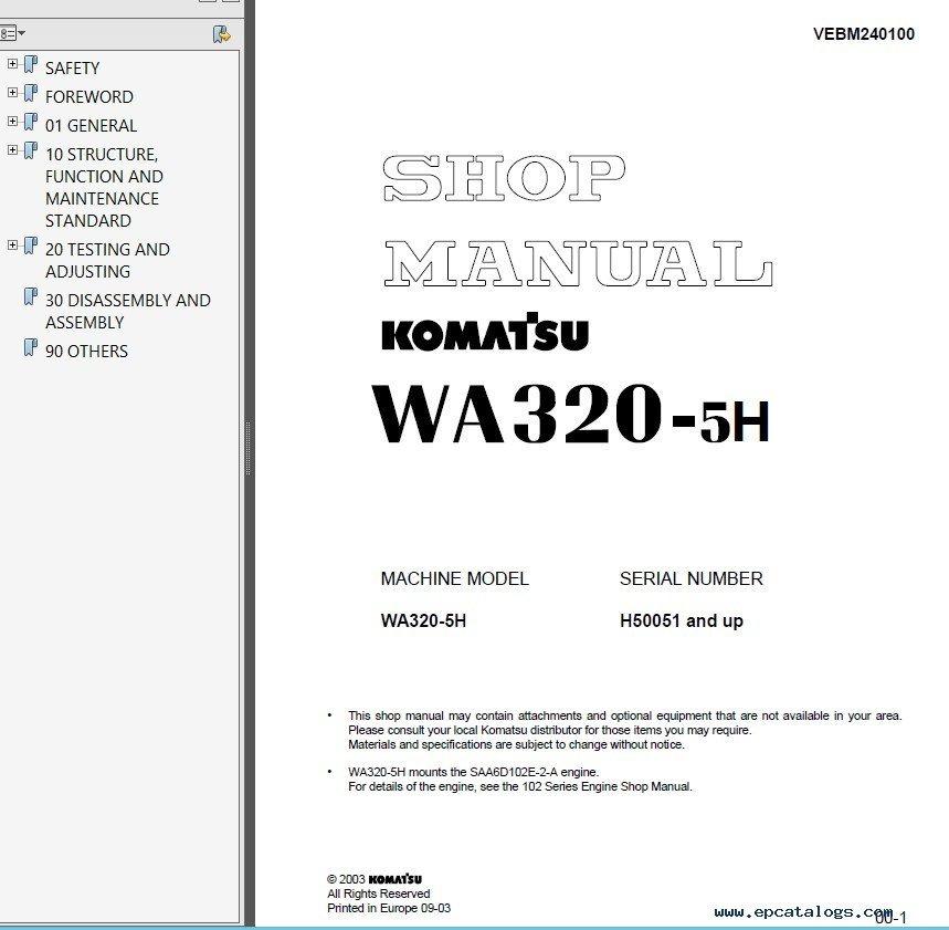 Komatsu Wa320 1 service manual