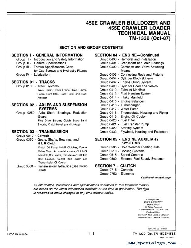 John Deere 450E, 455E Repair TM1330 Technical Manual PDF