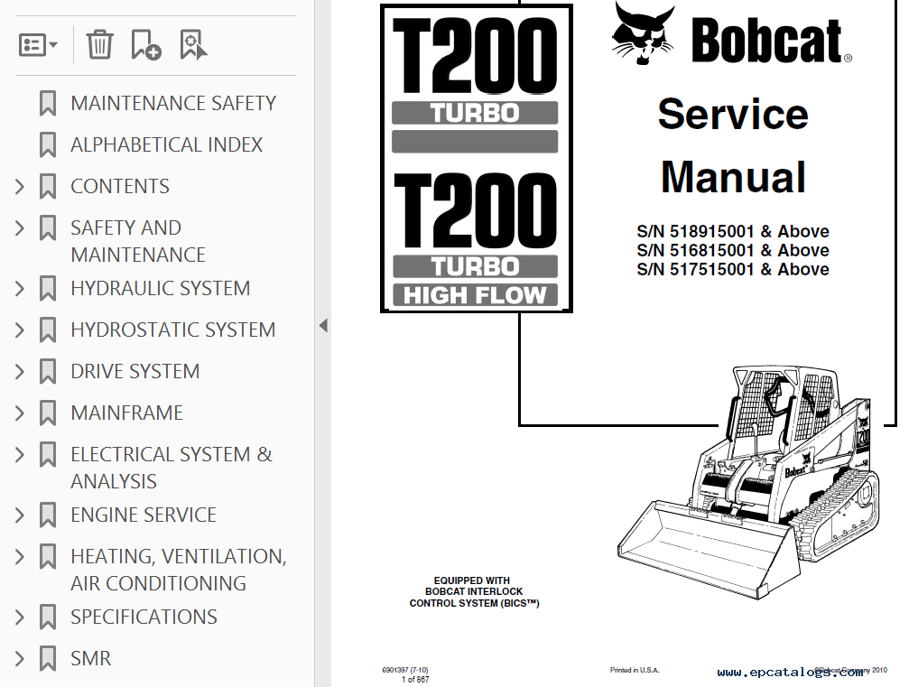 Bobcat T200 Turbo Hf Compact Track Loader Service Manual
