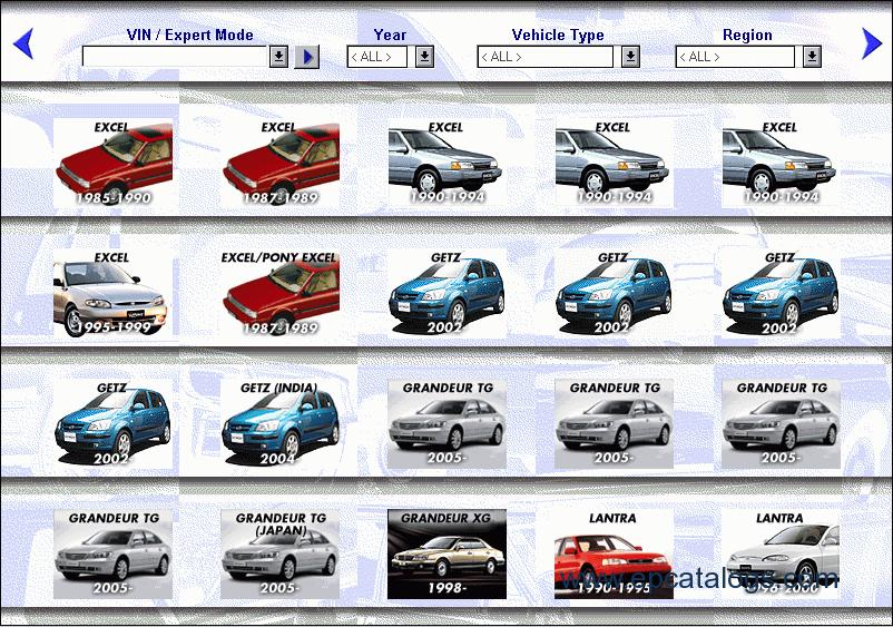 Hyundai, spare parts catalog, Cars catalogues