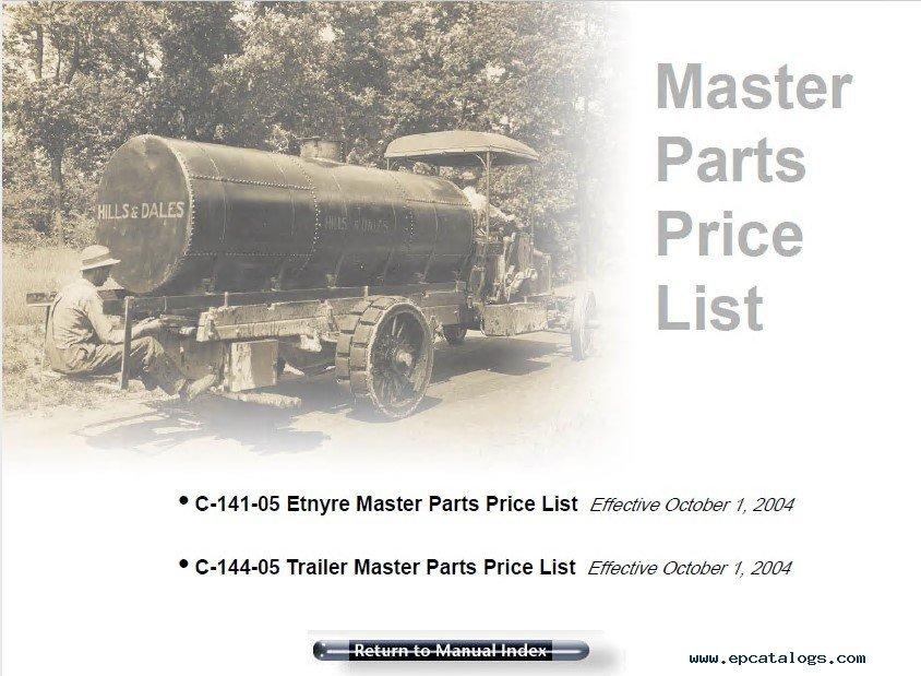 Etnyre Distributor Parts manual