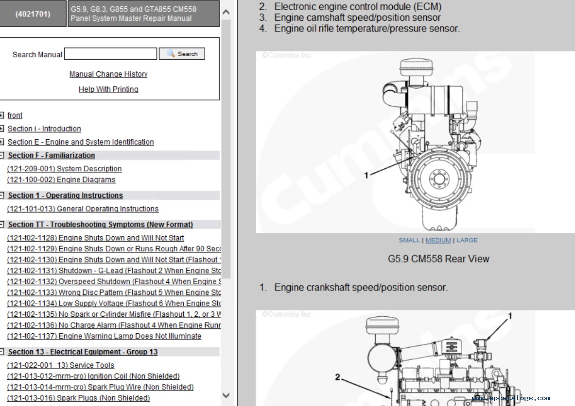 Cummins Gas System G59 G83 G855 G14 G50 K19gc Kta38gc Rover Fuel Pressure Diagram Repair Manual Mechanical