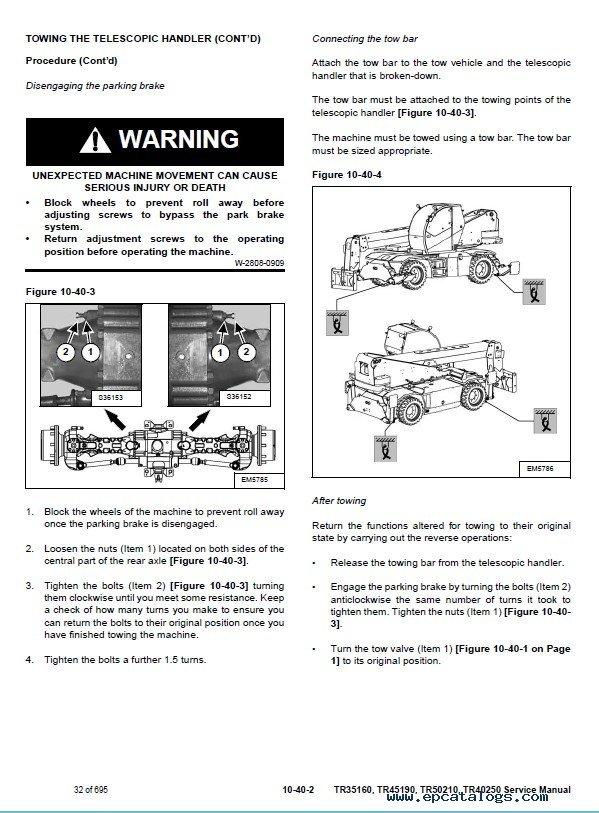 Bobcat TR35160, TR45190, TR50210, TR40250 Telescopic Handler Service Manual  PDF