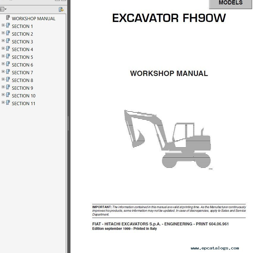 fiat hitachi excavators fh series workshop manuals pdf rh epcatalogs com hitachi workshop manuals hitachi ex30 workshop manual