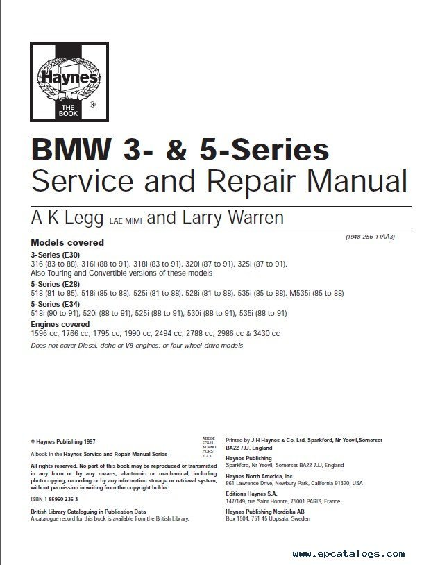bmw 5 series e34 set of pdf manuals