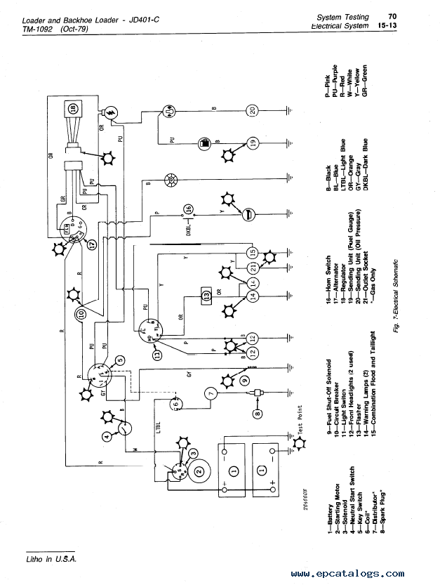 John Deere JD401-C Loader and Backhoe Loader TM1092 Technical Manual on