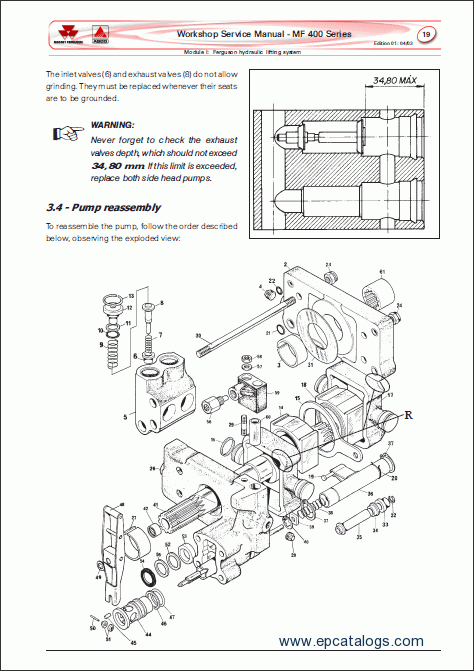 massey ferguson tractors 400 series  repair manual  heavy