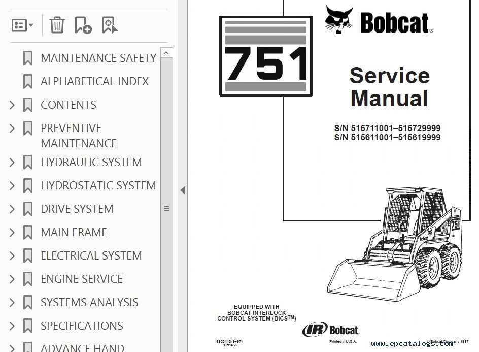Bobcat 751 Skid Steer Loader Service Manual Pdf