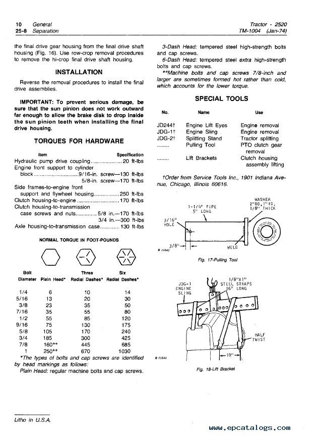 john deere 2520 tractor tm1004 technical manual pdf repair manual enlarge