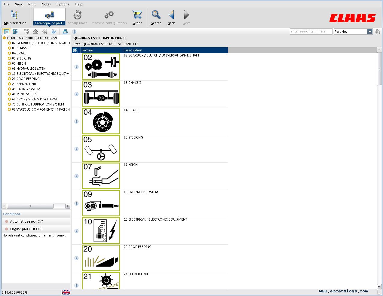 PDF catalog Original Manual Claas Commandor 228//116 CS Spare Parts Catalogue