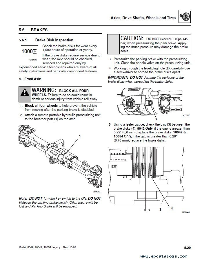 JLG SkyTrak Telehandlers 8042 & 10042 & 10054 ANSI Service Manual PDF