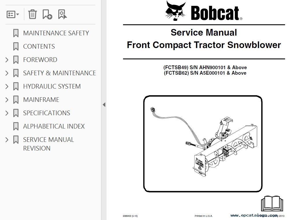 Bobcat Fctsb49 62 72 Front Compact Tractor Snowblower