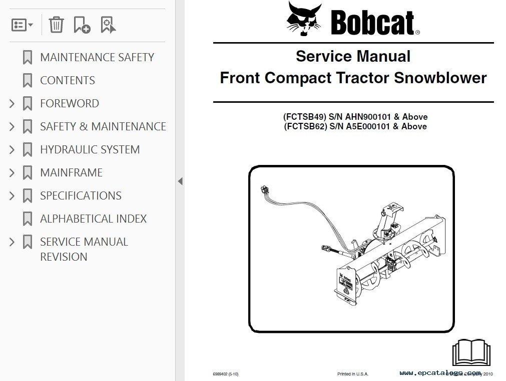 bobcat schematics bobcat fctsb49/62/72 front compact tractor snowblower ...  #15