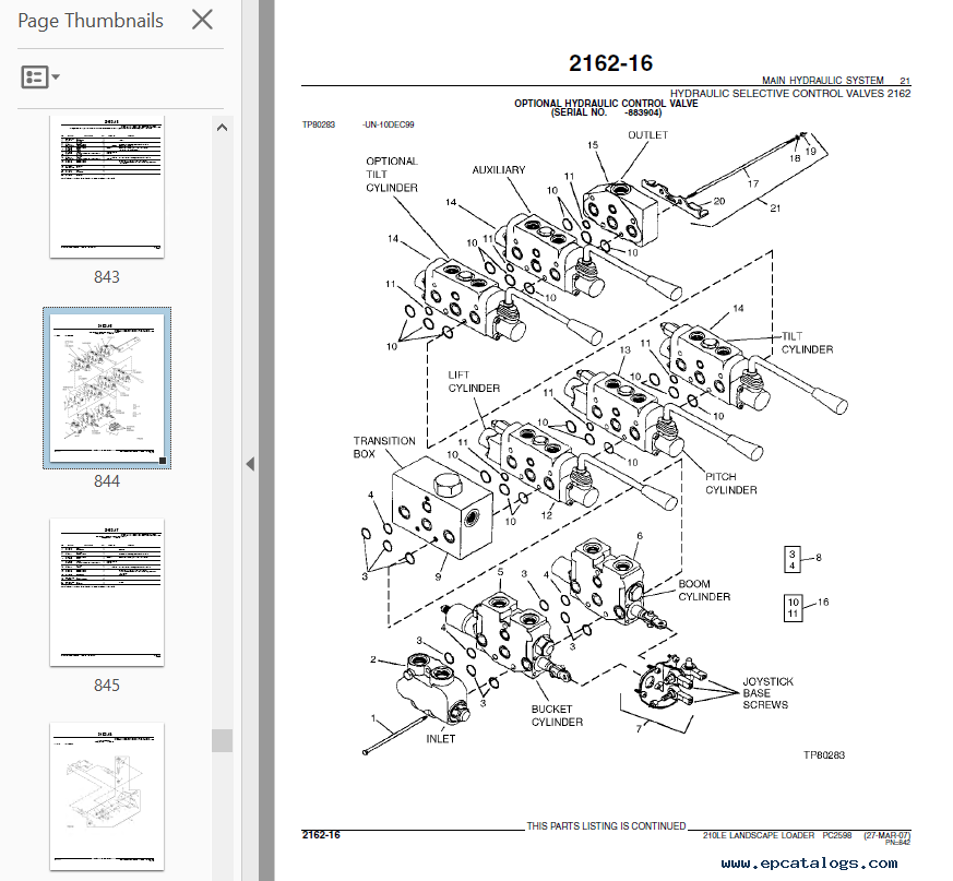 John Deere 210le Landscape Loader Pdf Pc2598 Parts Catalog Manual Guide