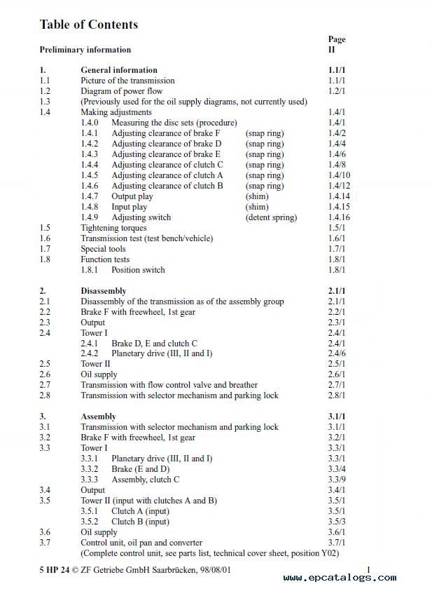Zf 5hp24 valve Body Manual