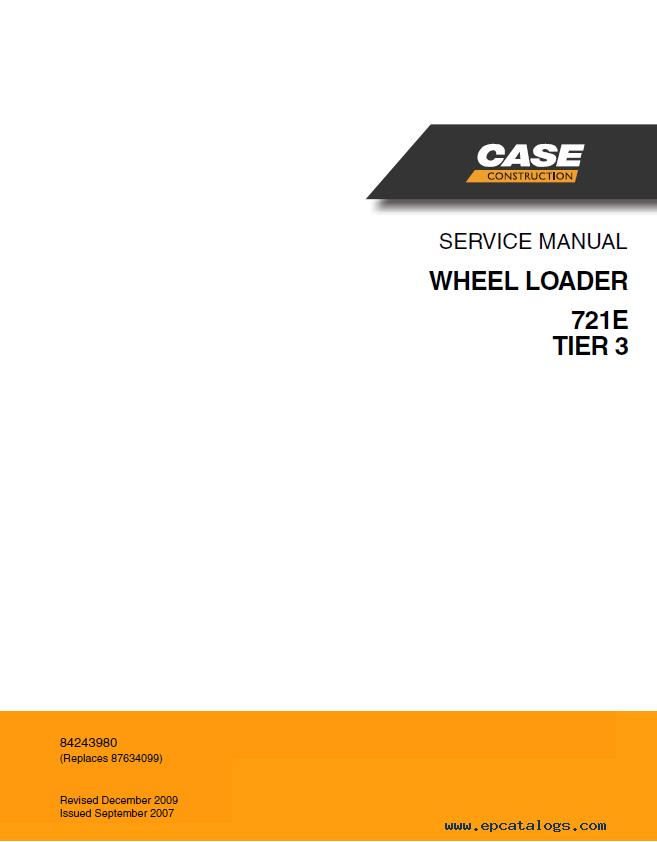 Case 721e 821e Tier 3 Wheel Loader Operators Service