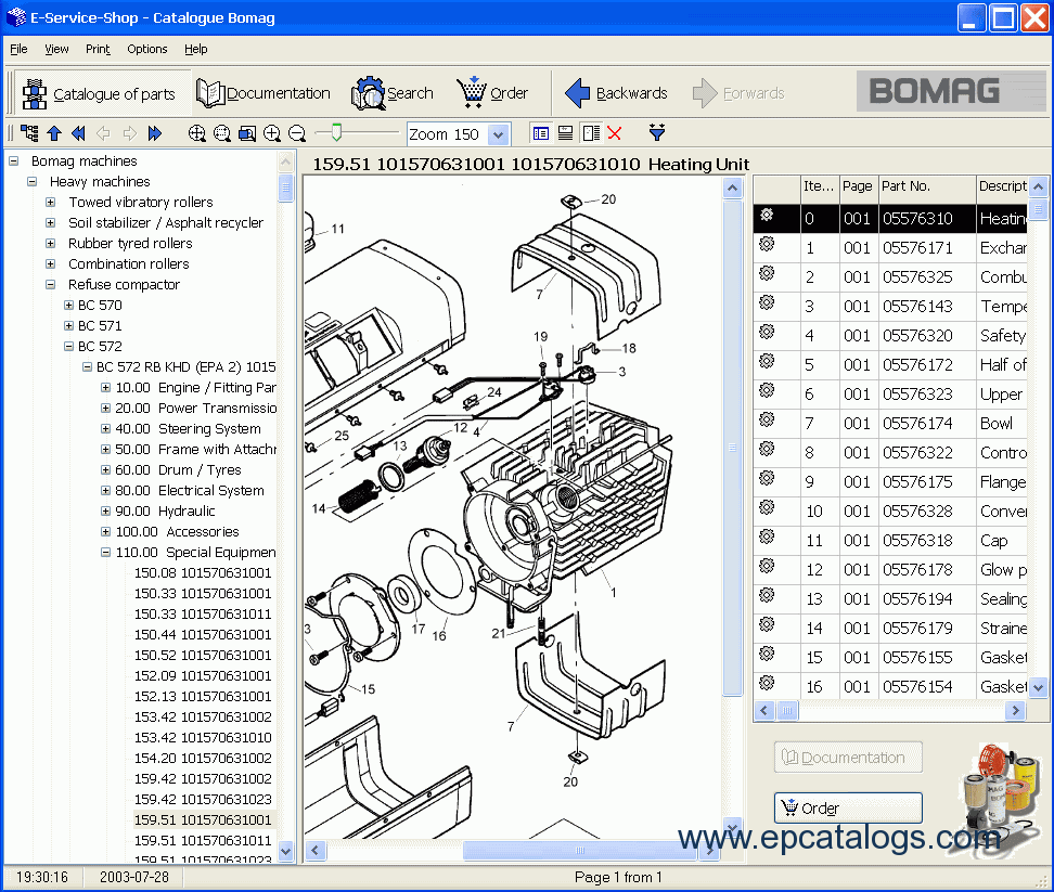 Download Bomag All Models Spare Parts Catalog 032007