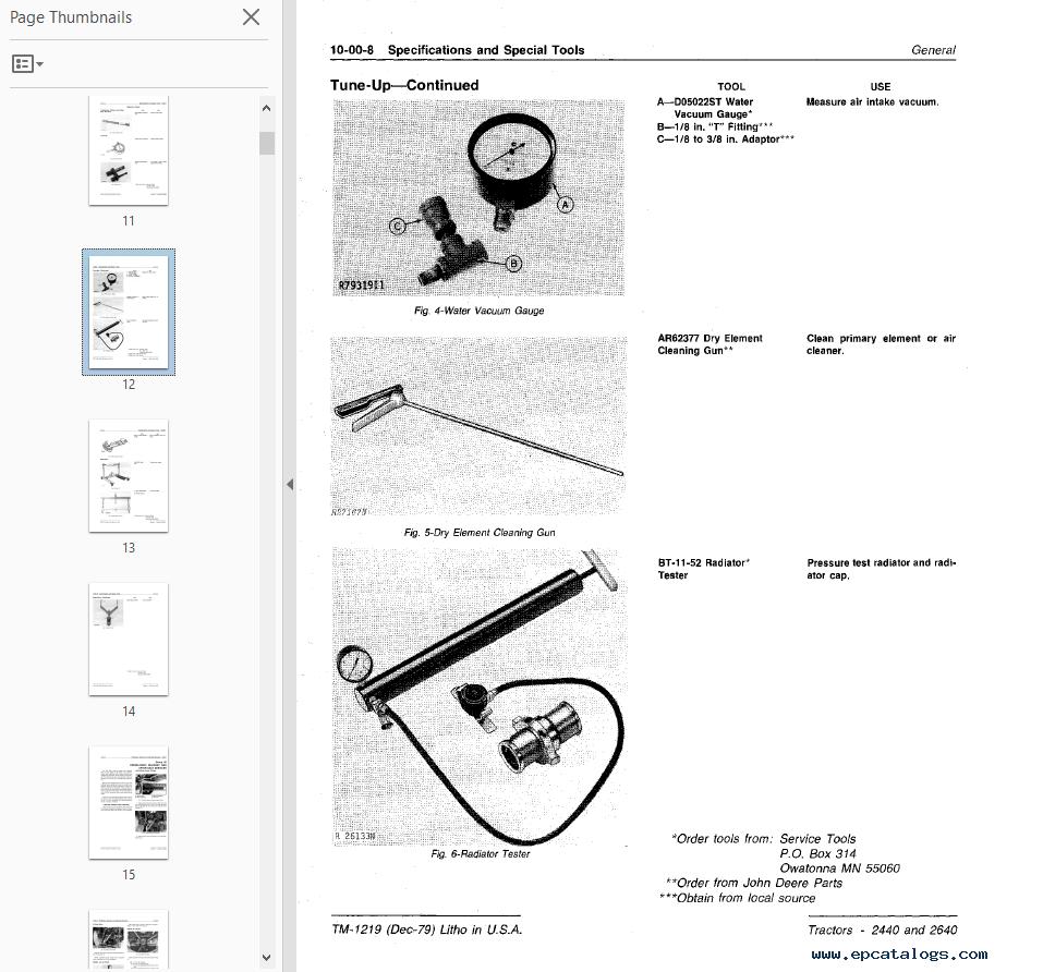 John Deere 2440 2640 Tractors Technical Manual Pdf Wiring Diagram Repair 4