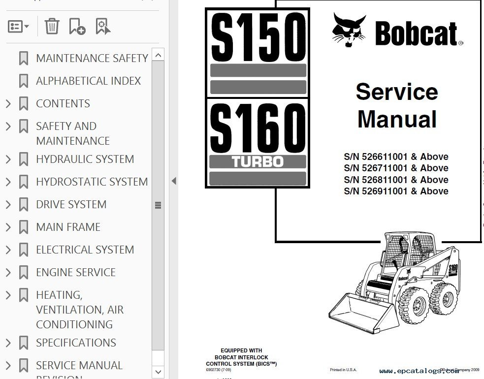 Bobcat S S Turbo Skid Steer Loader Service Manual Pdf
