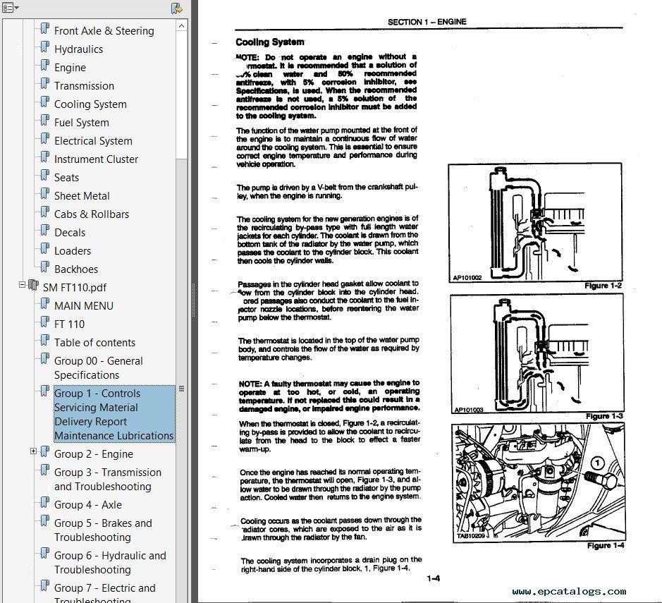 repair manual FiatAllis FT110 Tractor Loader Backhoe Operation Maintenance  Manual & Parts Catalog & Service Manual